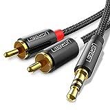 UGREEN Cinch Kabel Stereo Aux auf 2 Cinch Audiokabel Chinch Kabel Klinkenkabel Nylon mit Winzigem Metallstecker 2m