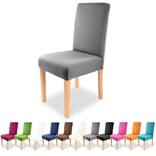 Gräfenstayn Strech-Stuhlhusse Charles - verschiedene Farben für runde und eckige Stuhllehnen bi-elastische Passform mit Öko-Tex Siegel Standard 100 30443 (Anthrazit)
