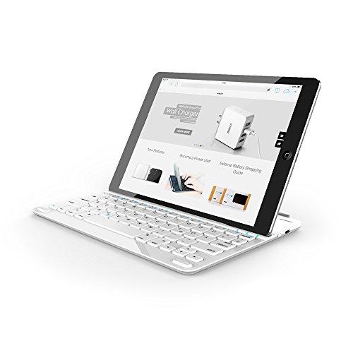 Anker Ultra-Thin Deutsche Bluetooth Tastatur Keyboard Case Cover für Apple iPad Air 2 / iPad Air / New iPad 9.7'(2017) - Smart Cover mit eingebauter 800mAh Li-ion Batterie (Weiß)