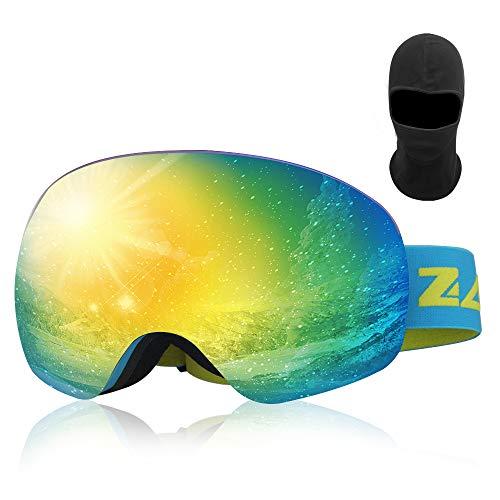 Zacro Skibrille Snowboardbrille Coole und Klare Sicht Skibrillen ohne Rahmen, 100% UV400-Schutz und Antibeschlag OTG-Doppellinsenbrille, Erhältlich für Männer und Frauen,Blau