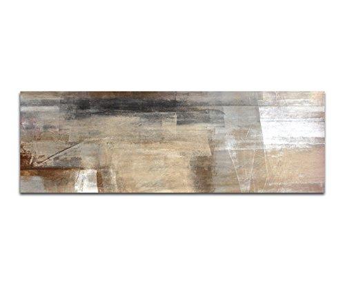 Panoramabild auf Leinwand und Keilrahmen 150x50cm Malerei Kunstwerk abstrakt braun beige