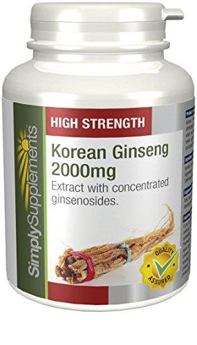 Koreanischer Ginseng 2000mg - 120 Tabletten - Versorgung für bis zu 4 Monaten - für Ausdauer und Energie - Simply Supplements