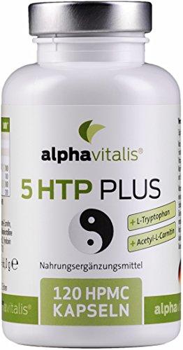 5 HTP PLUS - 200mg echtes 5-Hydroxytryptophan + L-Tryptophan + Acetyl-L-Carnitin + Vitamin B Komplex - ohne Magnesiumstearat - vegan- 120 Kapseln - Einführungspreis