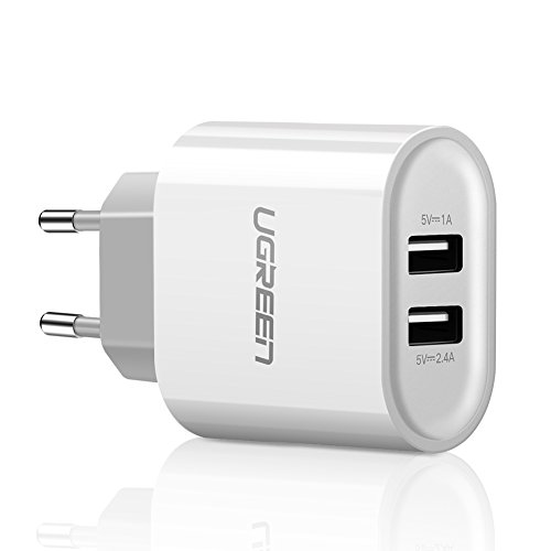 USB Ladegerät Adapter, UGREEN Adapter Sektor USB Wandtattoo Dual 2Ports USB Ladegerät Reise 17W 5V 3,4A für Apple iOS, Android, Windows Mobile Geräte, Weiß
