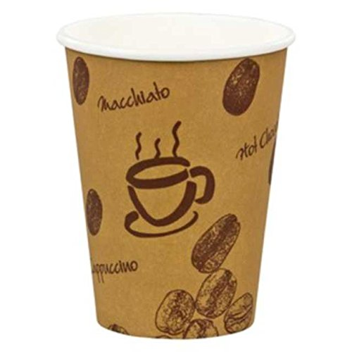 400 Stk. Kaffeebecher Premium, 'Coffee to go', Pappe beschichtet, 8oz., 200 ml / Hochwertiger hitzebeständiger 'Coffee to go' Becher bedruckt mit Motiv 'HOT BEANS'. Aus 100% recyclingfähiger Pappe hergestellt.