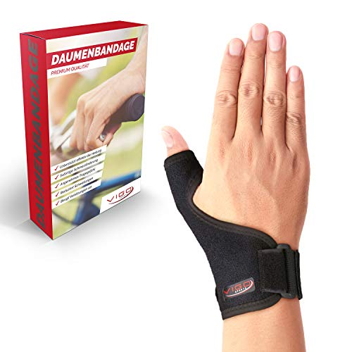 Vigo Sports medizinische (universal) Daumenbandage für links & rechts – Elastische Daumenschine für Damen & Herren | Daumenorthese z.B. für Sattelgelenk, Kapselriss & Sehnenscheidenentzündung etc.