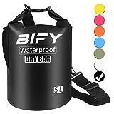 Dry Bag BIFY 5L/10L/15L/20L/25L/30L/40L Leicht Wasserfester Rucksack/Wasserdichte Tasche/Trockensack mit lang Verstellbarer Schultergurt für Boot und Kajak Wassersport Treiben (Schwarz, 5L)