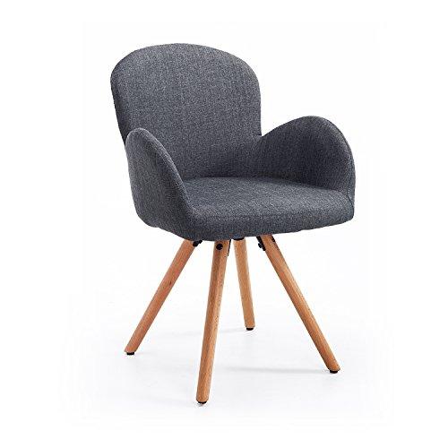 Homcom Esszimmerstuhl Wohnzimmerstuhl Armsessel Sessel Stuhl Küchenstuhl Leinen Holz (grau)