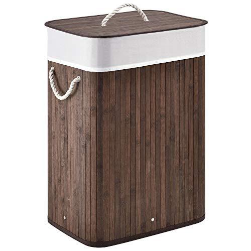 Juskys Bambus Wäschekorb Curly mit Wäschesack & Deckel | 72 Liter | 1 Fach | tragbar | braun | eckig | Wäschesammler Wäschetruhe Wäschebehälter