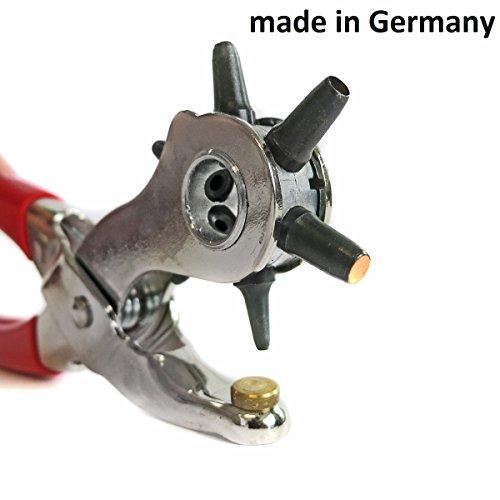 S&R PROFI Revolverlochzange /MADE IN GERMANY/ Lochzange mit 6 auswechselbaren Lochpfeifen 2 - 2,5 - 3 - 3,5 - 4 -5 mm | Gürtellochzange Stanzzange
