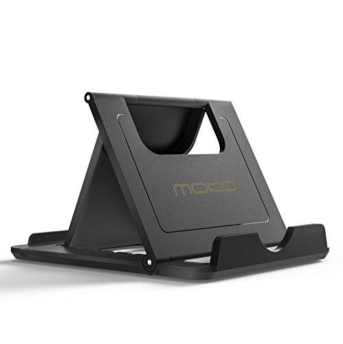 MoKo Mini Portable Handy / Tablet Ständer - Multi-Winkel Faltbar Gummi Desktop Halterung für 6-8' Tablet, E-Reader, Smartphone, iPhone 7 / 7 Plus, iPad, Galaxy Tab, S7/ S7 Edge, Huawei P9, Schwarz
