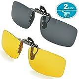 Sonnenbrille Aufsatz, Splaks 2-Stück Clip on Polarisiert Clip polarisierte Sonnenbrille Flip up Sonnenbrille Clip Gegen Licht für Frauen und Männer(Schwarz+Gelb)
