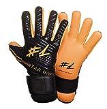 #1 Hashtagone Endboss Schwarz Orange Torwarthandschuhe für Erwachsene & Kinder - Jede Größe - entwickelt vom Torwart Bundesliga Profi - Tormannhandschuhe Herren, Kinder (7 Schwarz Orange)