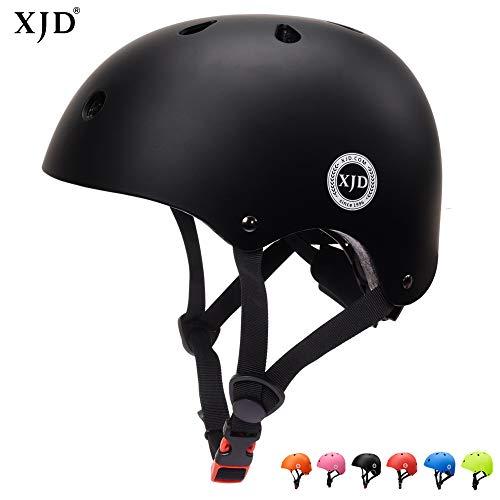 XJD Verstellbar Kinder Helm Sporthelm Fahrradhelm mit Luftlöcher für Fahrrad Motorrad Skateboard Schifahren 3-13 Jahres Junge Mädchen (Schwarz)