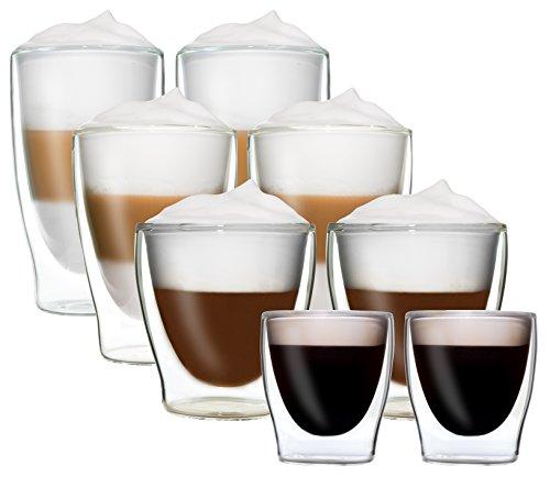 8er-Set doppelwandige Thermo-Gläser DUOS - 2x 80ml Espresso / 2x 200ml Teeglas / 2x 310ml Latte Macchiato / 2x 400ml Longdrink - je im 2er-Set verpackt, DUOS by Feelino ...