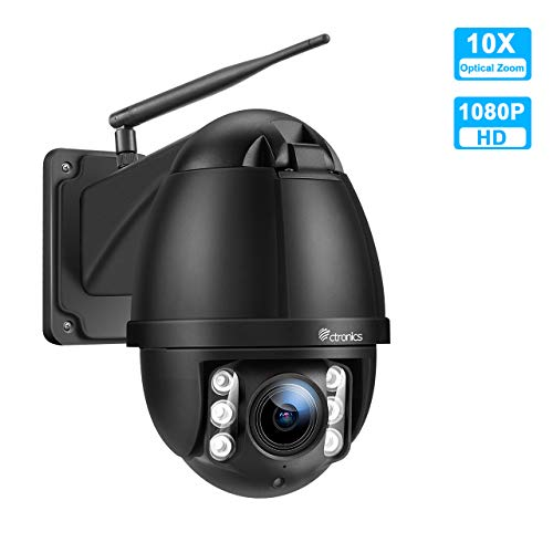 PTZ IP Dome Kamera Aussen, Ctronics überwachungskamera WLAN Outdoor, 10-Fach optischem Zoomobjektiv, Zweiwege-Audio 60m IR-Nachtsich, IP66 wasserfest, Bewegungsmelder, Unterstützung 128GB SD Karten