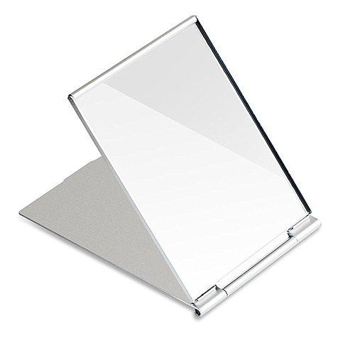 G2Plus Reise Spiegel Taschenspiegel Zusammenklappbar Kosmetikspiegel Klappbar Spiegel für Rasieren Camping und Make-up 12.5 cm * 9.5 cm * 0.5 cm (Silber)