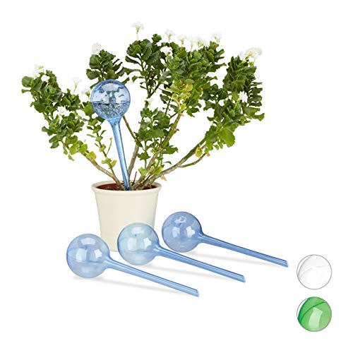 Relaxdays Bewässerungskugeln, 4er Set, Dosierte Bewässerung, 2 Wochen, Versenkbar, Deko, Topfpflanzen