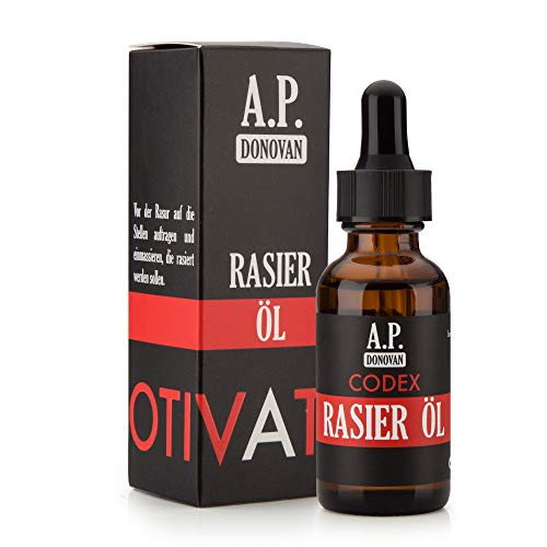 A.P. Donovan - Rasieröl für Herren | Nachhaltige Rasur | Hervorragend zum Rasieren der Bartkonturen | Sandelholz Duft | CODEX Bartpflege-Serie