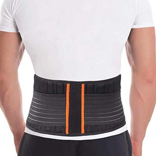 Rückenstützgürtel Rückengurt mit Stabilisierungsstäben zur Schmerzreduktion und Haltungskorrektur verstellbare Rückenstütze für Damen und Herren mit 8 Rippensteifen Höhe 18 cm Schwarz Medium