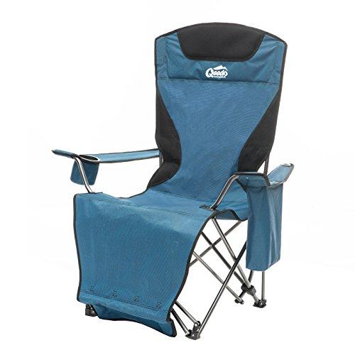 Camping-Stuhl Qeedo Johnny Relax bis 105 kg, Klappstuhl, Fußablage, Getränkehalter - blau