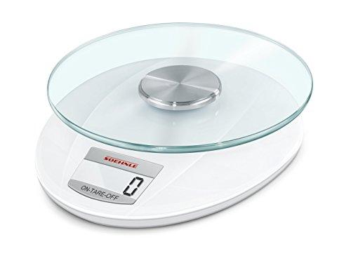 Soehnle Digitale Küchenwaage Roma mit 5 Kilo Tragkraft und 1-g-Wiegepräzision, Waage mit praktischer Zuwiegefunktion (TARA), elegante Waage für die Küche mit LCD-Anzeige und Abschaltautomatik