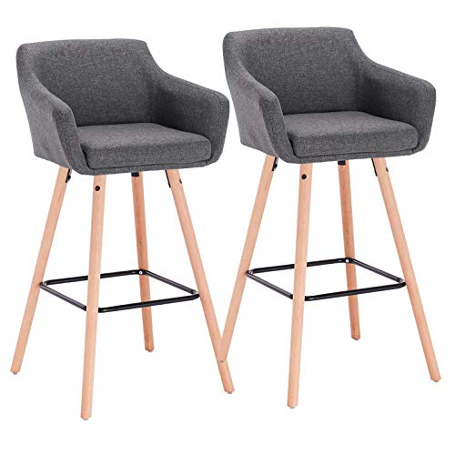 WOLTU BH118dgr-2 2X Barhocker 2er Set Barstuhl Tresenhocker aus Leinen Holzgestell mit Lehne + Fußstütze Design Stuhl Küchenstuhl optimal Komfort Dunkelgrau