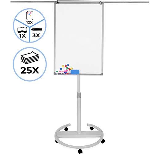 Flipchart mit Rollenfuß - 60 x 90, höhenverstellbar, 2 Seitenarme, inkl. Papier, Marker, Magnete, Schwamm, Papierhalterung, Weiß - Whiteboard, Magnettafel