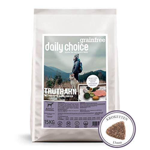 daily choice grainfree | 15 kg | Trockenfutter für Hunde | getreidefrei | Truthahn mit Kartoffeln und Erbsen | Monoprotein mit Frischfleisch | Enthält Chicorée, Grünlippmuschel und wertvolle Kräuter