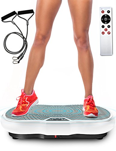 Vibrationsplatte Sportstech VP200 mit Bluetooth, innovativer Oszillationstechnologie für zu Hause, Trainingsbändern + Fernbedienung + integrierter Lautsprecher im Vibrationsgerät