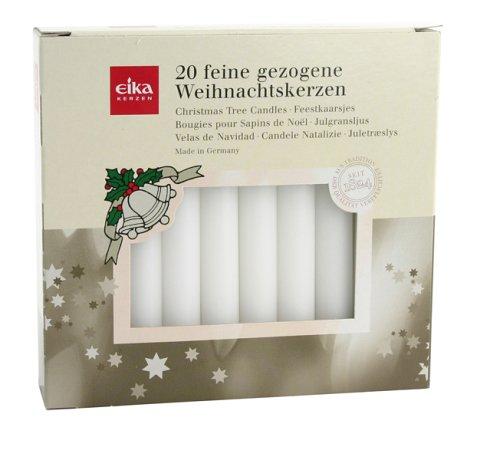 Eika 10243521 Baumkerzen durchgefärbt weiß, 20er Pack 10,5cm x 1,25 cm