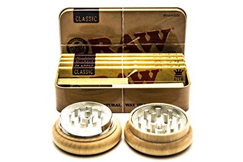 Raw klassische Tabakdose | 4 Raw klassische King Size Rollpapiere | 2 Broschüren mit Tips zum Zigarettenrollen | 55 mm Tabakmühle mit Holzzähnen mit einer Zinklegierung