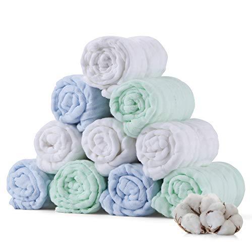 Baby Musselin Waschlappen, weiche neugeborene Baby Gesichtstücher, Mehrzweck-natürliche Baumwolle Baby Wipes (10 pack A)
