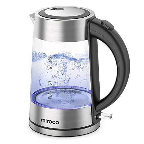 Miroco Glas Wasserkocher, Wasserkocher 1.7 Liter Edelstahl Glaswasserkocher mit Teesieb, Glaswasserkocher mit LED-Innenbeleuchtung Trockenlaufschutz Warmhaltefunktion, BPA-Frei- 2200W