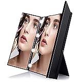 Schwarz Tischspiegel mit 8-LEDs Kosmetikspiegel Schminkspiegel aus HD-Glas beleuchteter Make-Up-Spiegel Faltbarer Standspiegel für die Reise/Badzimmer,als Geschenk für Freundin/Mutter