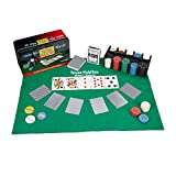 Relaxdays Pokerset, 200 Chips, Spielmatte, 2 Kartendecks, Dealerbutton, Blindbuttons, Casino-Feeling, Profi Pokerspiel