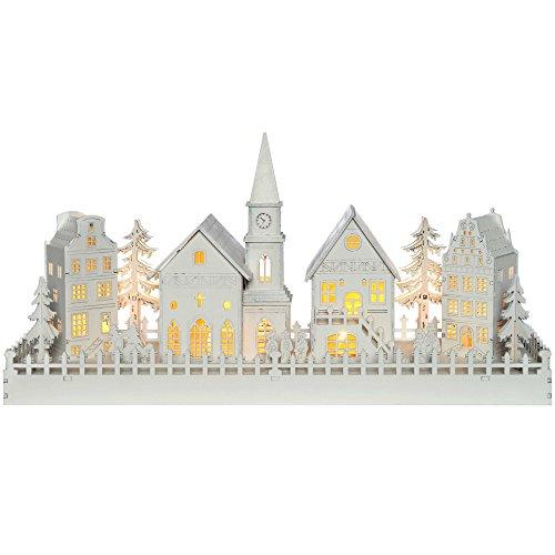 WeRChristmas Beleuchtete Weihnachtsdekoration mit Kirchenmotiv, aus Holz, mit LED-Lichtern, 45cm,Weiß