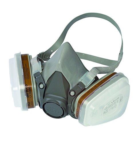3M Mehrweg-Halbmaske 6002C / Halbmaske mit Wechselfiltern gegen organische Gase, Dämpfe & Partikel / Für Farbspritz- und Maschinenschleifarbeiten