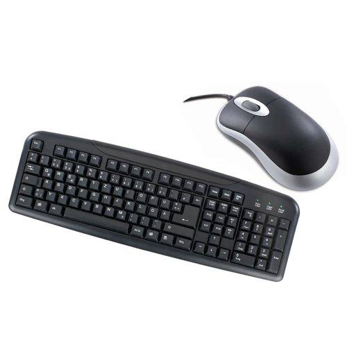 Desktop-Set [492015] Optische 3-Tasten Maus mit Scrollrad, USB und Tastatur mit deutschem Layout, USB