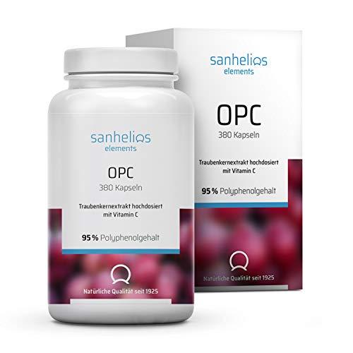 OPC Traubenkernextrakt Kapseln hochdosiert mit Vitamin C, 55% Polyphenolgehalt, Rein natürlich, Ohne synthetische Zusätze, Antioxidativ, Vegan, Halal, Laktosefrei, 380 Kapseln