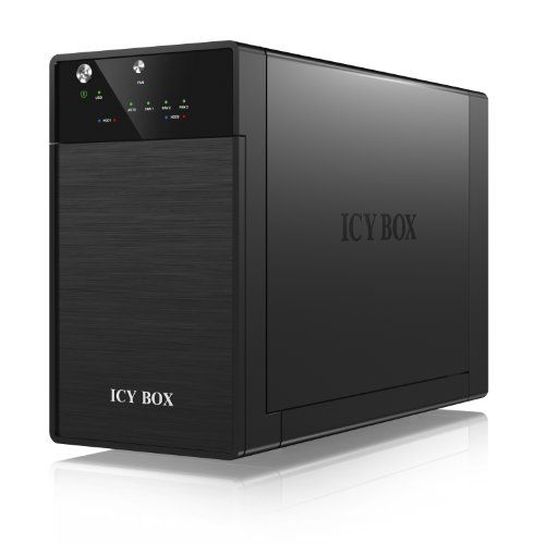 Icy Box IB-3620U3 Externes 2-fach JBOD-Gehäuse für 3,5' (8,9 cm) SATA I/II/III HDD mit USB 3.0 Anschluss, Aluminium (schwarz)