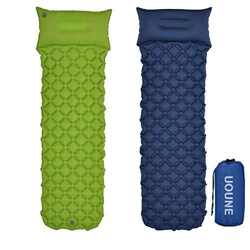 UOUNE Isomatte Camping Schlafmatte Aufblasbar Wasserdicht Faltbar mit Kissen - Luftmatratze klappbar - Ultraleicht und Kleines Packmaß - Liegematte für Outdoor, Wandern, Backpacking, Sport, Trekking