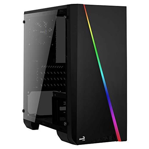 Aerocool Cylon Mini - Micro ATX PC Tasche (Total Side Fenster, RGB 13 Modi, USB 3.0, Heckgebläse 8 cm) Schwarz