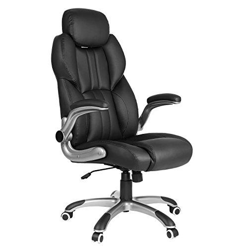 SONGMICS Bürostuhl, ergonomischer Drehstuhl, mit klappbaren Armlehnen, Nylon-Sternfuß, Tragfähigkeit 150 kg, schwarz OBG65BK