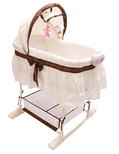 Best For Kids Wiege Stubenbett 4 in 1 Schaukelwiege Babybett mit Melodie, Vibration, Licht, Nachtlampe und Schaukel in zwei Farben zur Auswahl. PRIMA (Beige - Easy)