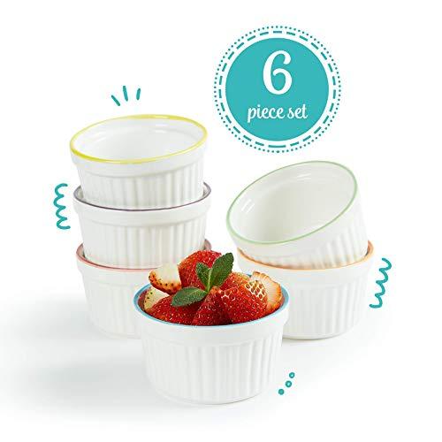 Uno Casa Weiße Keramik Creme Brulee Formen - 150 ml Souffleförmchen für Soufle und Eiscreme - Set bestehend aus 6 weißen Souffle Förmchen mit Buntem Rand