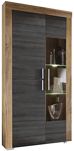 trendteam Wohnzimmer Vitrine Schrank Wohnzimmerschrank Boom, 89 x 210 x 34 cm in Nussbaum Satin Dekor mit LED Beleuchtung in Warm Weiß