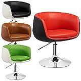 Promafit Lounge Sessel Herbert - 2 farbig - höhenverstellbar - Clubsessel - Barstuhl - Cocktailsessel - Retro Drehstuhl - viele Farben (Rot - Schwarz)