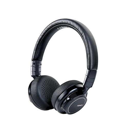 AUKEY Bluetooth Kopfhörer Kabellos on Ear mit Sattem Bass, 18 Stunden Spielzeit, Mikrofon und 3,5-mm-Audioeingang, Federleichtes Headset für Handy, Tablets und PC