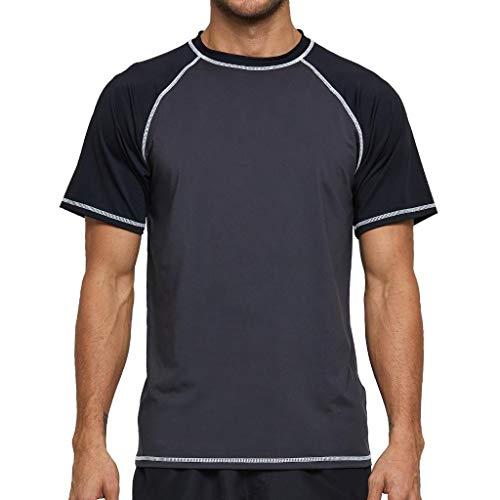 Arcweg Rashguard Herren Kurzarm Shirt UV Schutz T-Shirt Elastisch Schnelltrocknend Sun Shirt UPF 50 Tops Funktionsshirt Fitness Shirt Rash Vest zum Surf Laufen Angeln Wandern Grau/Schwarz EU XL